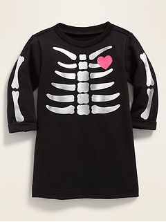 Skeleton-Graphic French Terry Dress for Baby