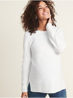 Maternity Soft-Brushed Shaker-Stitch Tunic Sweater