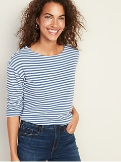 French Terry Mariner-Stripe Rolled-Cuff Tee for Women