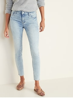 Mid-Rise Acid-Wash Raw-Edge Rockstar Jeans for Women