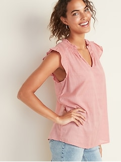 Sleeveless Smocked-Neck Dobby Blouse for Women