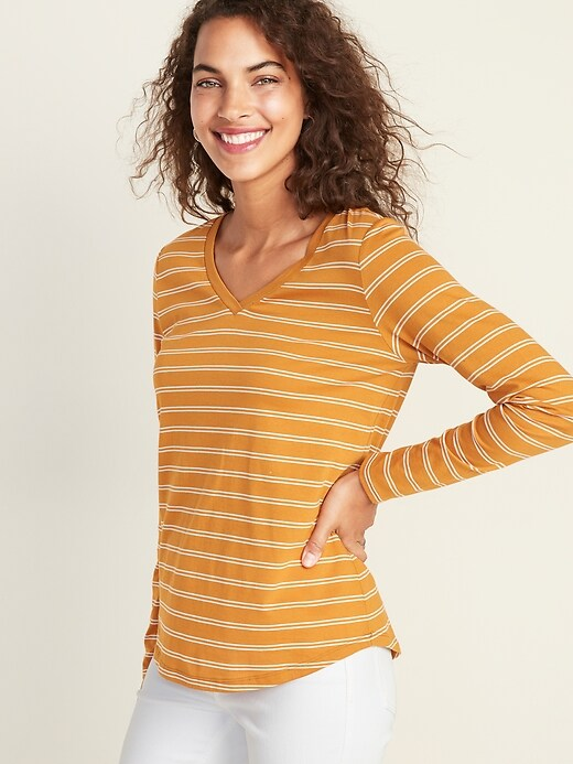 EveryWear Striped V-Neck Curved-Hem Tee for Women