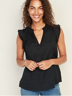 a1098b4891ad Sleeveless Smocked-Neck Dobby Blouse for Women