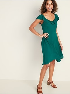 Ruffled Flutter-Sleeve Fit & Flare Dress for Women