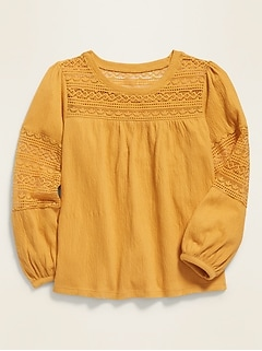 Balloon-Sleeve Textured-Jersey Top for Girls