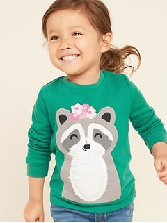 Relaxed Critter-Graphic Sweatshirt for Toddler Girls