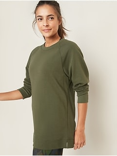 Loose-Fit French-Terry Crew-Neck Tunic for Women