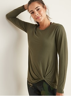 Relaxed Knotted-Hem Performance Top for Women