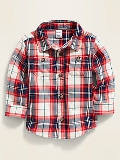 Plaid Twill Utility-Pocket Shirt for Baby