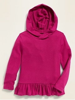 Plush-Knit Peplum-Hem Hoodie for Toddler Girls