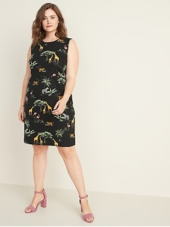 Sleeveless Plus-Size Ponte-Knit Sheath Dress
