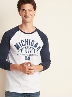 College-Team Graphic Raglan-Sleeve Tee for Men