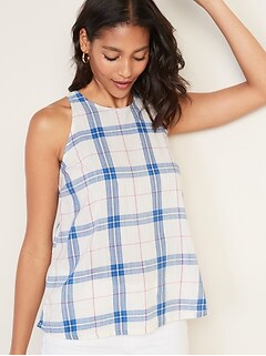 Plaid Slub-Weave High-Neck Sleeveless Top For Women