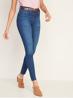 Mid-Rise Built-In Sculpt Rockstar Raw-Hem Super Skinny Jeans for Women