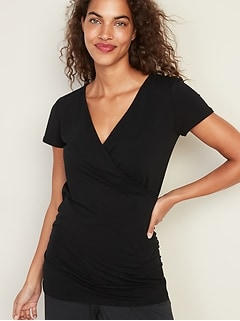 Maternity Faux-Wrap-Front Nursing Top
