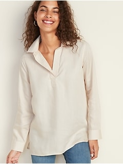 Split-Neck Twill Tunic for Women