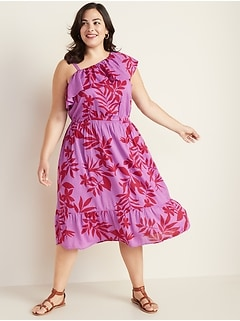 Waist-Defined Plus-Size One-Shoulder Ruffle-Trim Dress