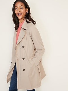Water-Resistant Trench Coat for Women