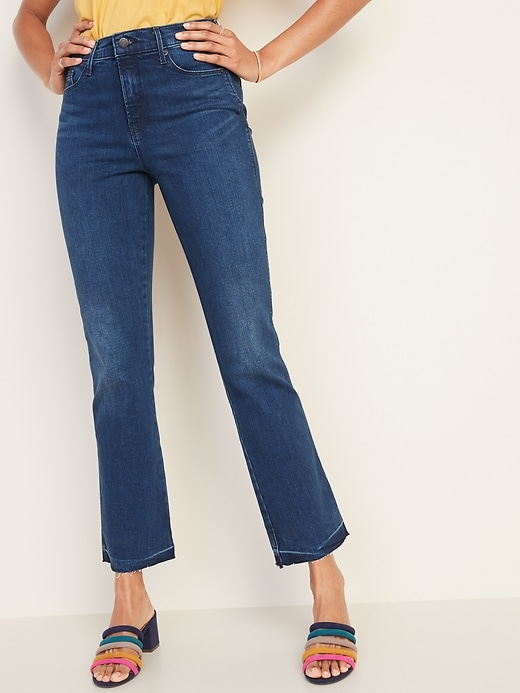 High-Rise Secret-Slim Pockets Raw-Edge Flare Ankle Jeans for Women