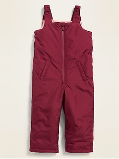 Water-Resistant Snow-Bib Overalls for Toddler Girls