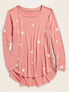 Luxe Patterned Tulip-Hem Tunic for Girls
