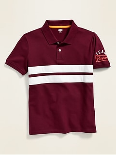 Built-In Flex Chest-Stripe Pique Polo for Boys