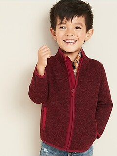 Sweater-Knit Fleece Jacket for Toddler Boys