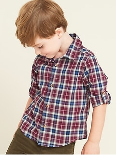 Plaid Built-In Flex Roll-Sleeve Shirt for Toddler Boys