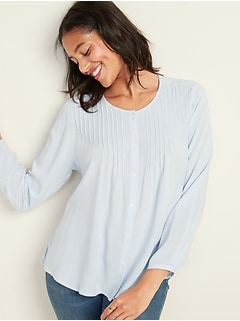 Button-Front Pintuck Blouse for Women