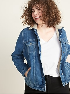 Plus-Size Sherpa-Lined Jean Jacket