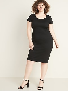 Secret-Slim Ponte-Knit Plus-Size Sheath Dress