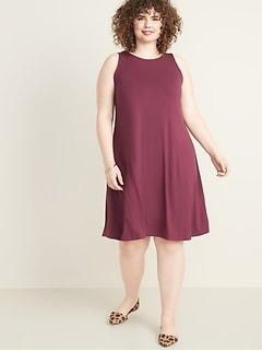 Sleeveless Plus-Size Jersey Swing Dress