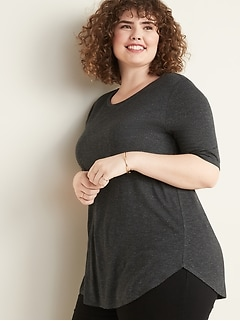 Luxe Sparkle-Knit Elbow-Sleeve Plus-Size Tunic Tee