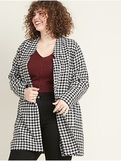Plus-Size Houndstooth Coat