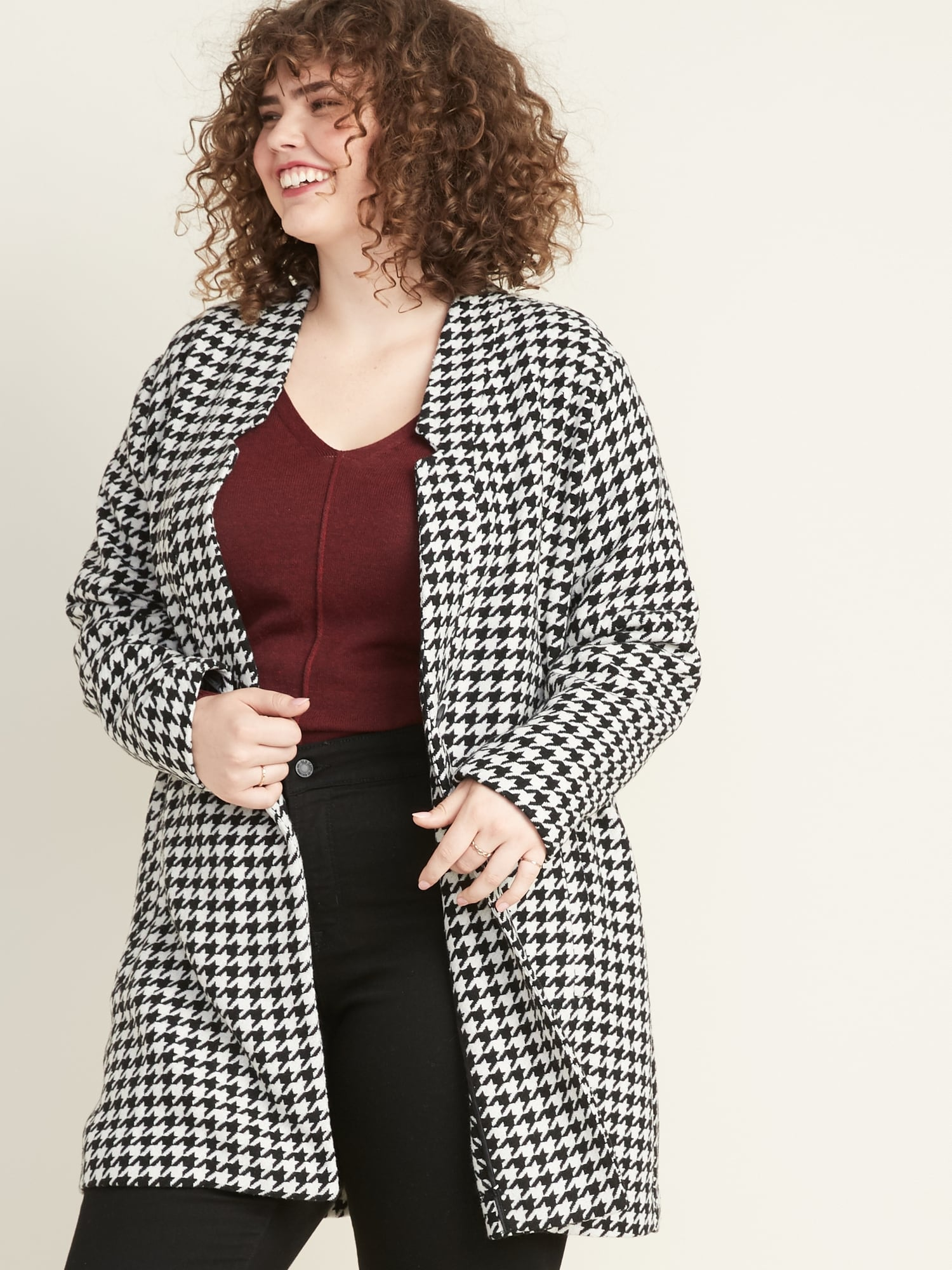 Plus Size Textured Houndstooth Coat by Old Navy