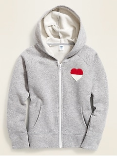 Graphic Hi-Lo Hem Zip Hoodie for Girls
