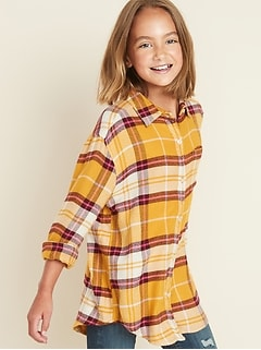 Plaid Super-Soft Twill Tunic Shirt for Girls