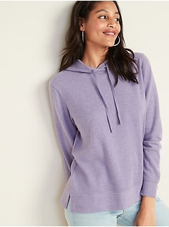 Relaxed Rib-Knit Pullover Hoodie for Women
