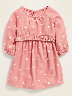 Fit & Flare Heart-Print Dress for Baby