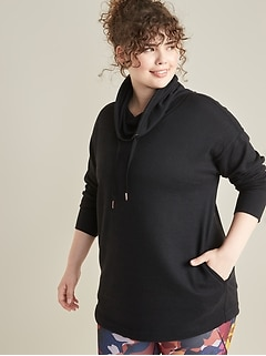 Loose-Fit Funnel-Neck Plus-Size Sweater-Knit Tunic