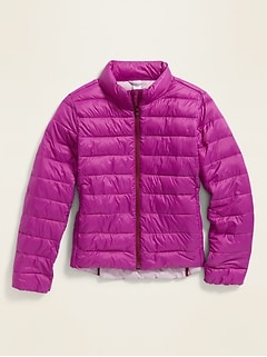 Lightweight Packable Nylon Puffer Jacket for Girls