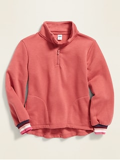 Mock-Neck 1/4-Zip Pullover for Girls