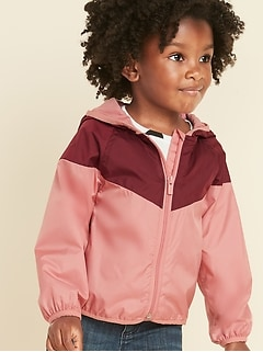 Hooded Color-Blocked Windbreaker for Toddler Girls