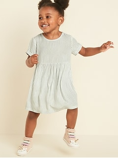 Striped Cuffed-Sleeve Fit & Flare Dress for Toddler Girls