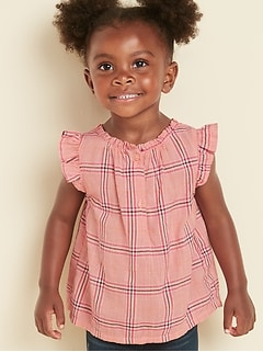 Ruffle-Trim Plaid Blouse for Toddler Girls