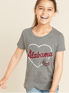 College-Team Heart Graphic Tee for Girls
