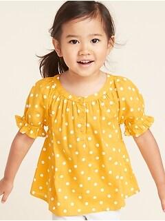 Patterned Slub-Weave Ruffle-Sleeve Blouse for Toddler Girls