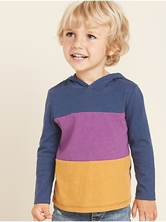 Color-Blocked Slub-Knit Tee Hoodie for Toddler Boys