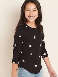 Fitted Softest Scoop-Neck Printed Tee for Girls