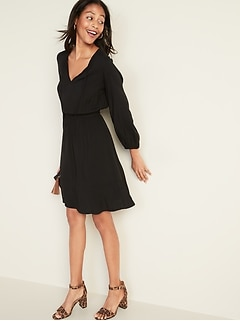 Waist-Defined Tie-Neck Dress for Women